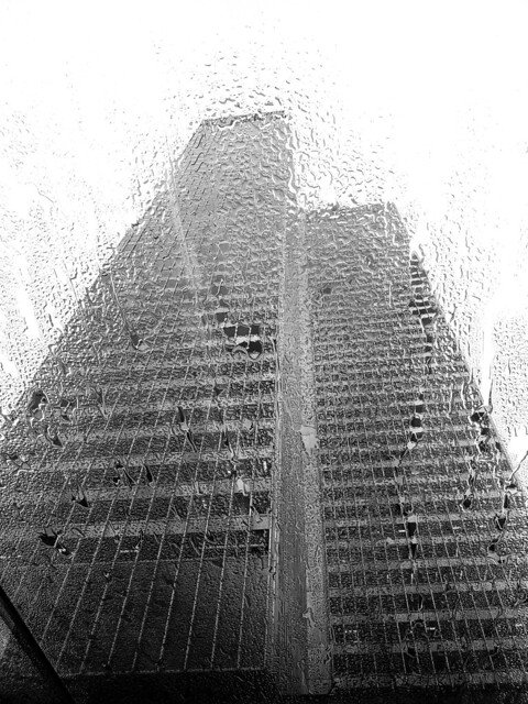 Skyscraper Through Rain soaked Skylight
