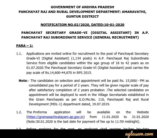 AP Grama Sachivalayam Panchayat Secretary Digital Assistant Recruitment 2020 Notification