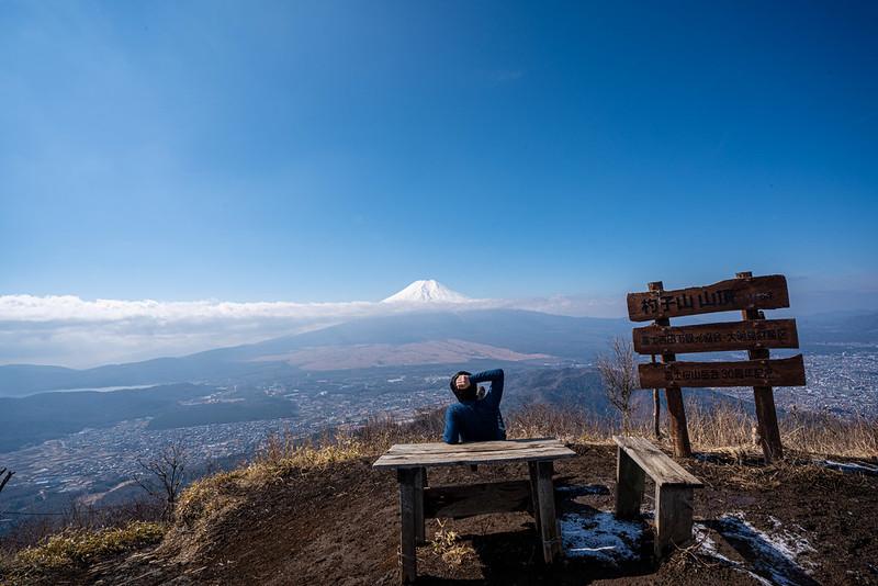 杓子山の山頂から富士山