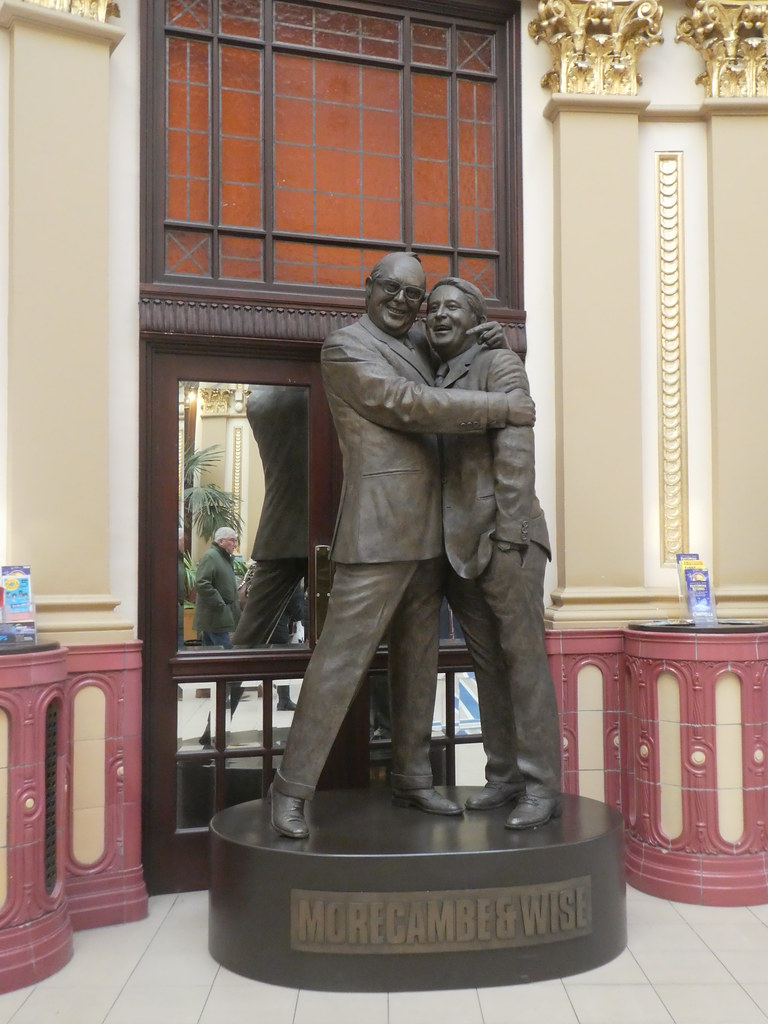 The Morecambe and Wise statue in the Winter Gardens, Blackpool