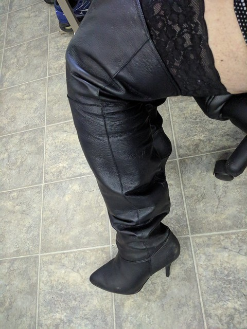 Leather thigh high boots from Pleaser