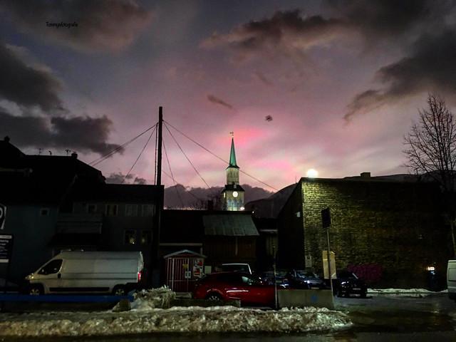 The Tromsø domkirken in magical light