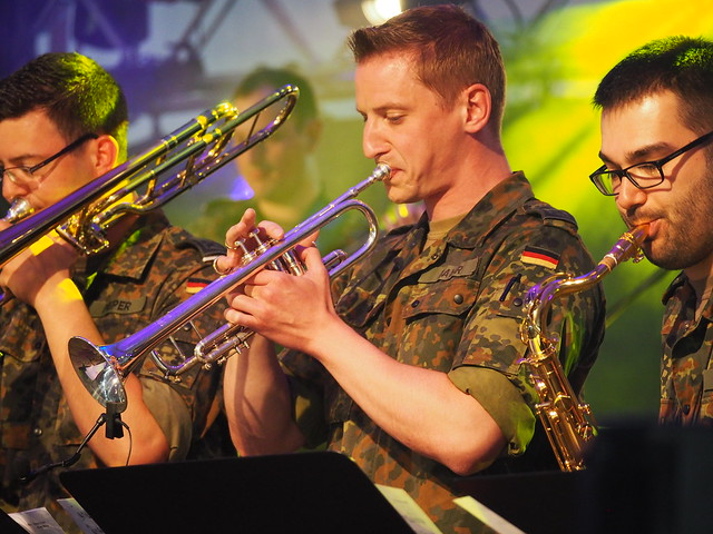 Military (Bundeswehr)-Band in Germany during a big State Festival HESSENTAG in Ruesselsheim in a tent - 2017