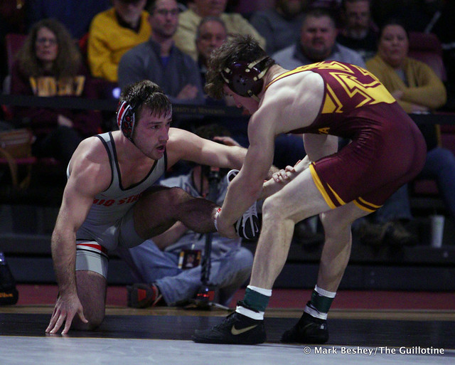 141: #1 Luke Pletcher (Ohio State) dec. #5 Mitch McKee (Minnesota) 12-6. 200126AMK0181