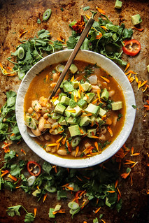 Vegan White bean sweet potato chili from HeatherChristo.com | by Heather Christo