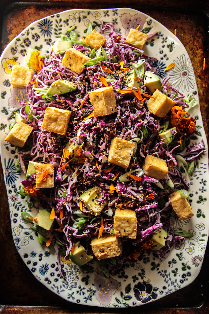 Sesame Cabbage Salad with avocado and crispy tofu (vegan and gluten-free) from HeatherChristo.com