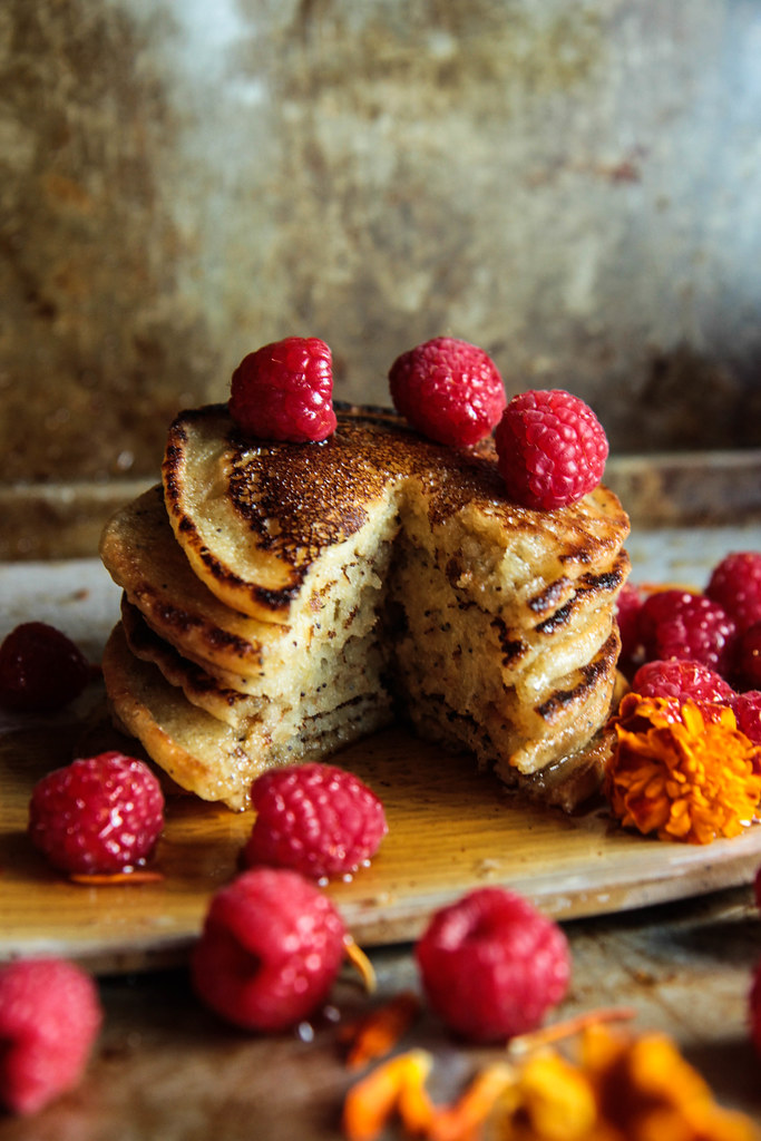 Lemon Poppyseed Almond Ricotta Pancakes (vegan and gluten-free) from HeatherChristo.com