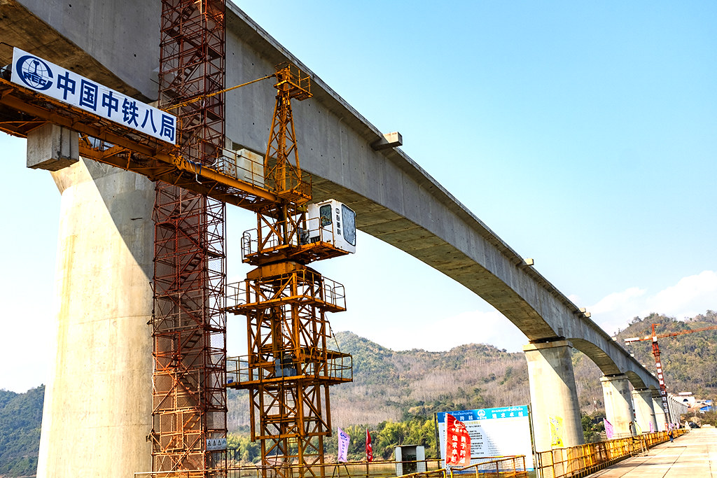 Chinese built railroad bridge under construction--Pha O 2
