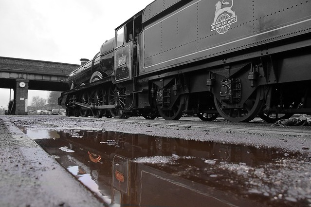 Locomotive No.4953 'Pitchford Hall' at rest on Loughborough shed. Great Central Winter Steam Gala. 26 01 2020 bw edit