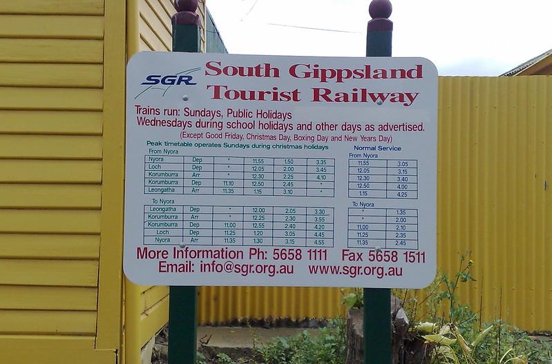 South Gippsland Tourist Railway: timetable January 2010