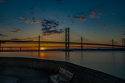 forth bridge queensferry crossing south river fife sunset long exposure road