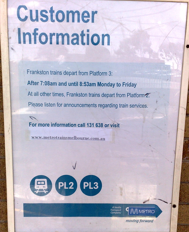 Frankston line platform information, January 2010