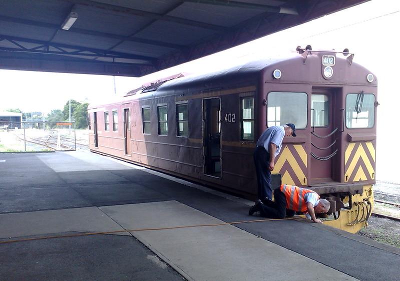 South Gippsland Tourist Railway: diesel rail car at station, January 2010