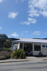 Enjoying the wifi, Akaroa Library