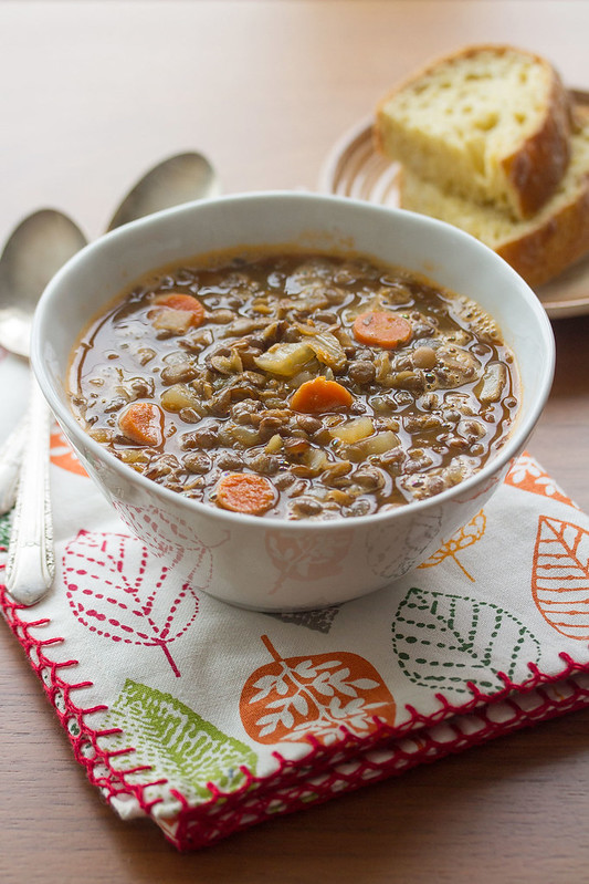 Lentil Bacon Soup in a Bowl