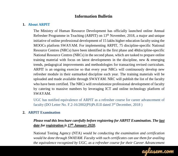 ARPIT 2020 Information Bulletin