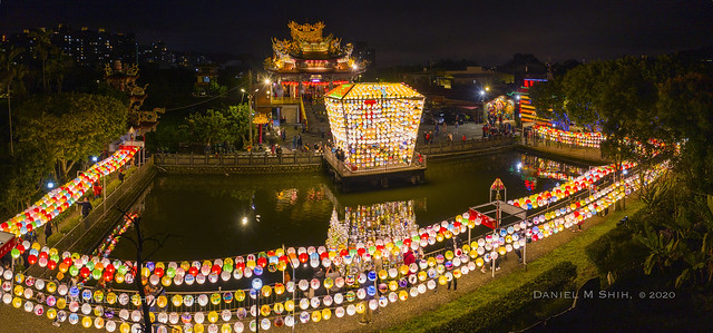 An aerial panoramic view of Lantern Festival 廣行宮燈會 2020