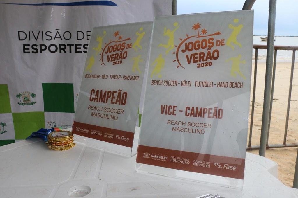 Troféus dos finalistas dos Jogos de Verão 2020 de Caravelas