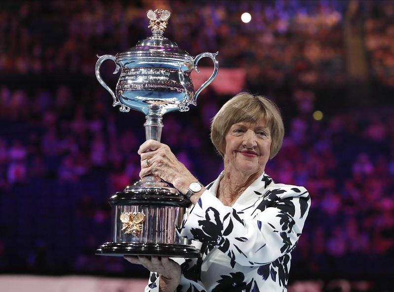 澳網慶祝Margaret Court的成就。(達志影像)