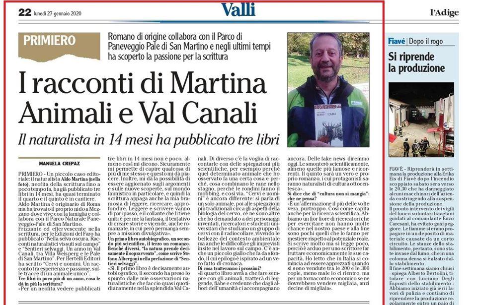 Intervista ad Aldo Martina sul quotidiano l'Adige
