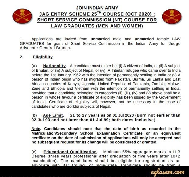 Indian Army JAG 2020 / JAG 25 Notification