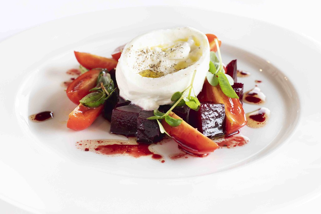 Burrata, beetroot, Datterini tomatoes