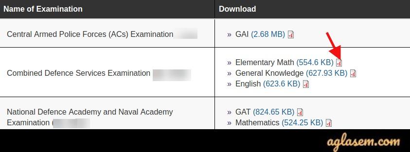 CDS 1 Maths Answer Key 2020