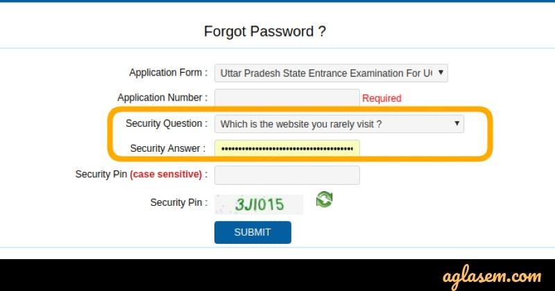 UPSEE Forgot password