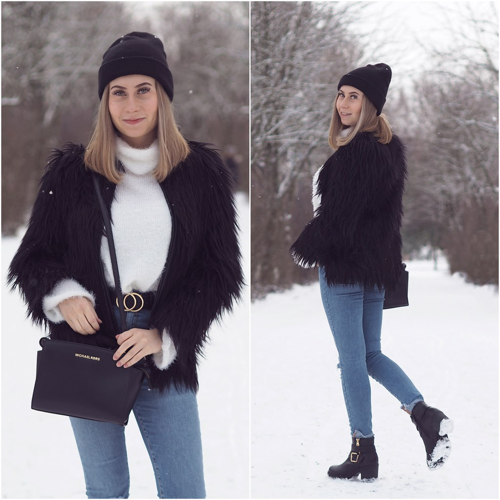 black faux fur outfit ideas