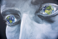 Whole world in graffiti eyes line removed