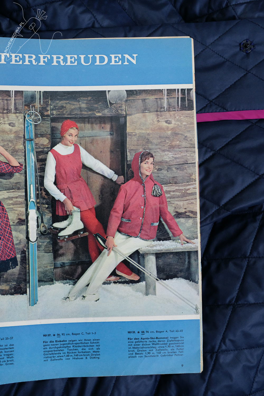marchewkowa, szycie, Wrocław, retro, stare wykroje, kurtka, pikówka, Beyer Mode 1/1959, winter jacket, vintage sewing pattern, quilted fabric