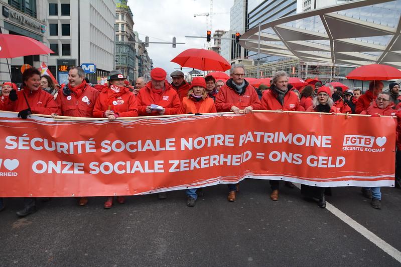 Bruxelles le 28 janvier 2020 manifestation nationale pour une sécurité sociale renforcée