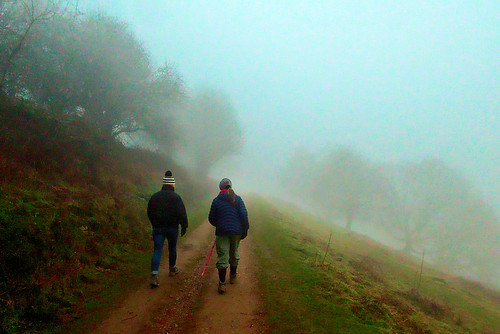Malvern Hills - Jo and Ann walking in the mist