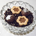 Mignardises - Dark chocolate truffles topped with edible silver and chocolate hazelnut filled cookies