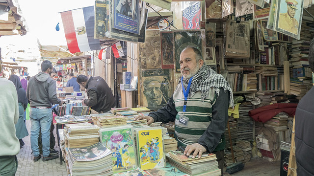 Old books and magazines vendor at Egypt's Al-Azbakeya market
