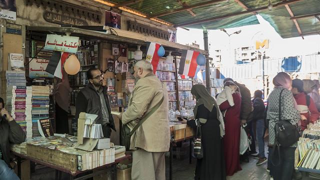 Customers in Egypt's Al-Azbakeya market