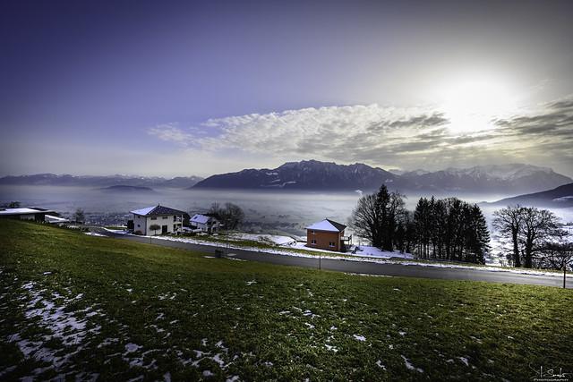 Winter view of the Rhine valley - Gams - St.Gallen - Switzerland
