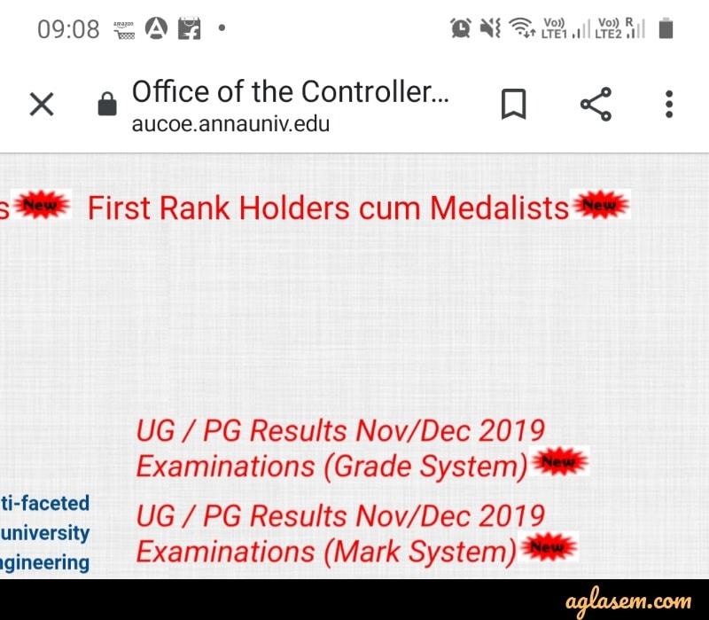 Anna University Result Nov/Dec 2019