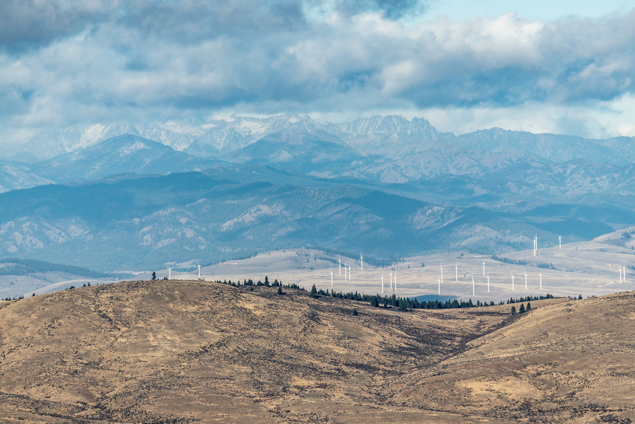 The Cascades and wind turbines