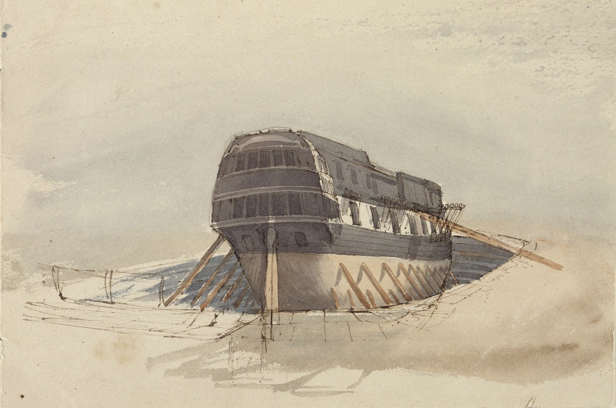 H.M.S. Rattlesnake, 1846, unfinished watercolour by Owen Stanley