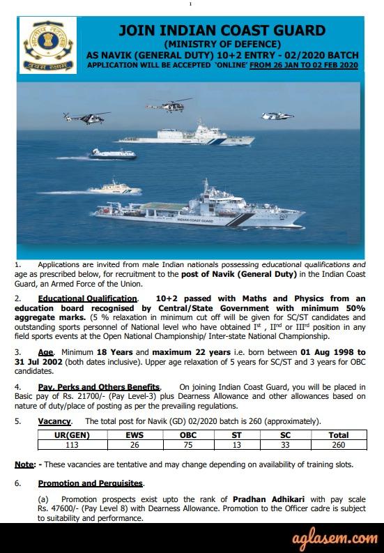 Indian Coast Guard Navik Recruitment 2020 Notification