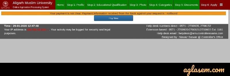 AMU Application Form Status 2020 - Check Here