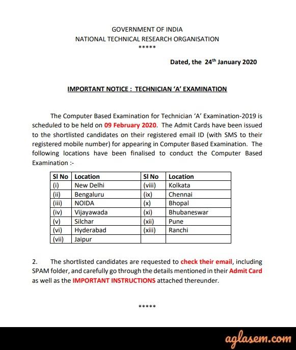 NTRO 2020 Admit Card