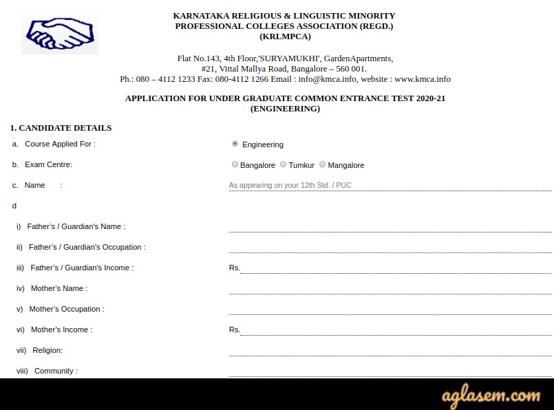 KRLMPCA UGCET 2020 Application Form (Extended) - How to apply