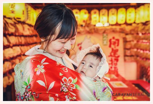 お宮参り 絵馬に願掛け 伊奴神社 名古屋市西区 赤ちゃんとママ 産着