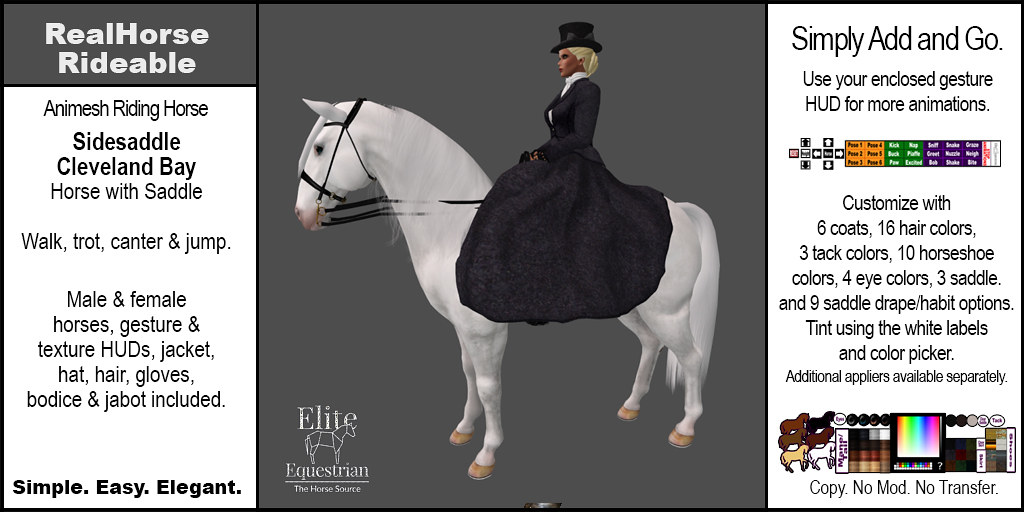 Elite Equestrian Animesh RealHorse Rideable Cleveland Bay Sidesaddle Style