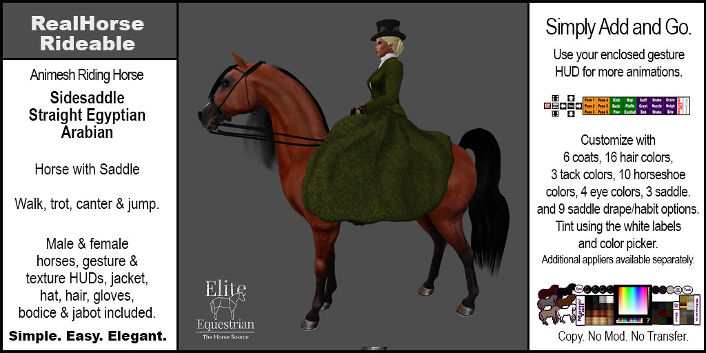 Elite Equestrian Animesh RealHorse Rideable Straight Egyptian Arabian Sidesaddle Style