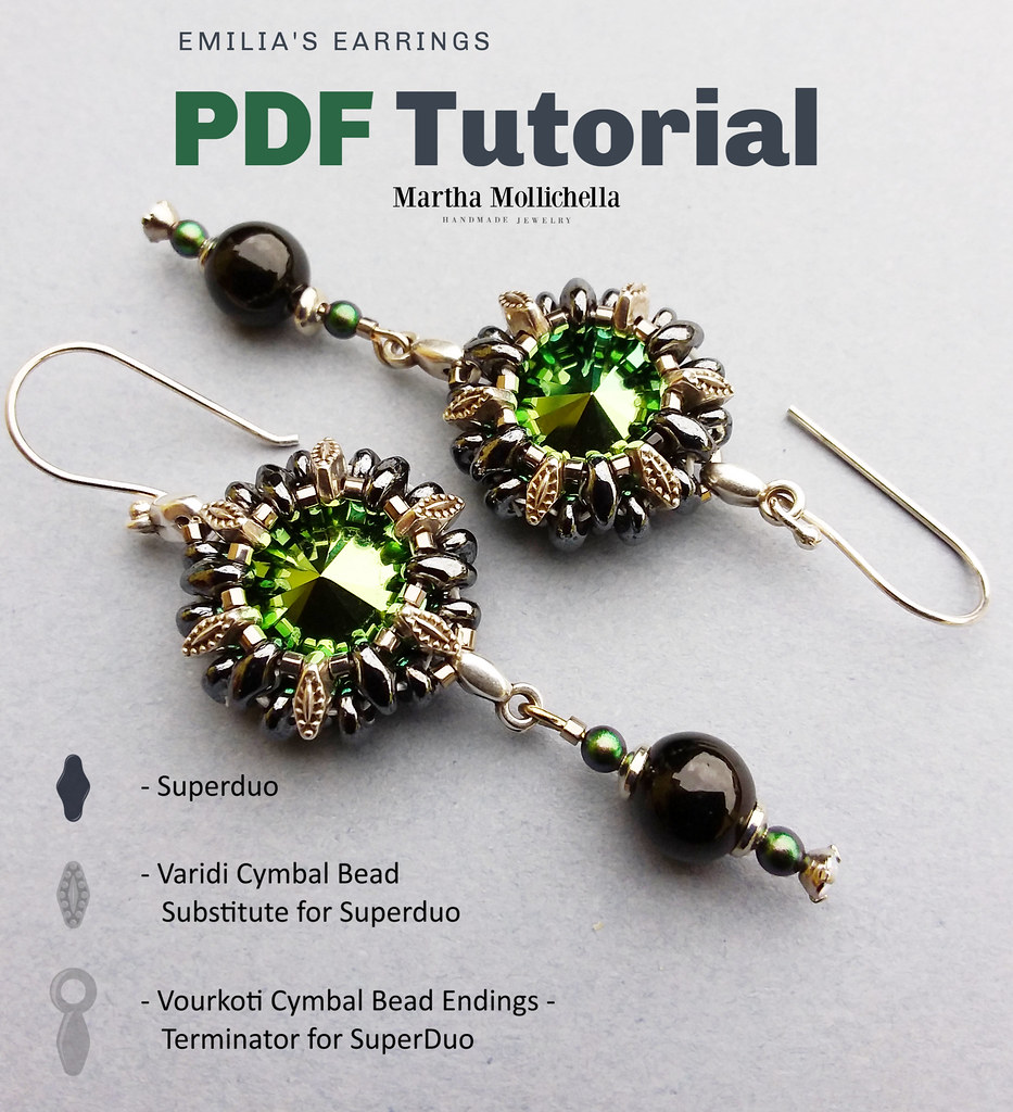 Beading tutorial superduo Swarovski crystal cymbal elements
