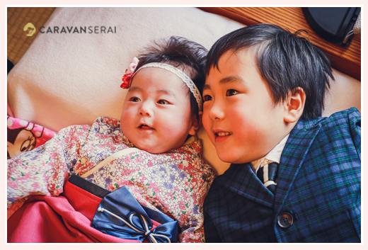 100日祝い 赤ちゃんとお兄ちゃん