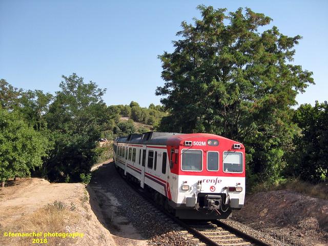 Tren de cercanías de Renfe (Línea C-5) a su paso por SEGORBE (Castellón)